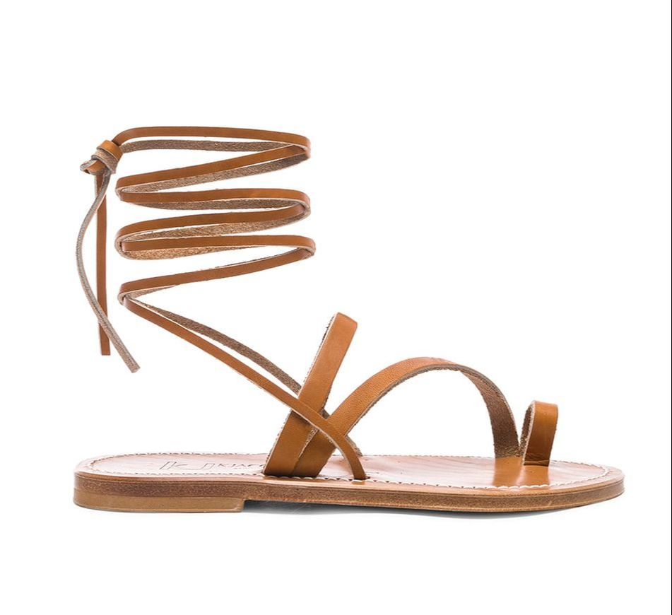 brown leather wrap sandals