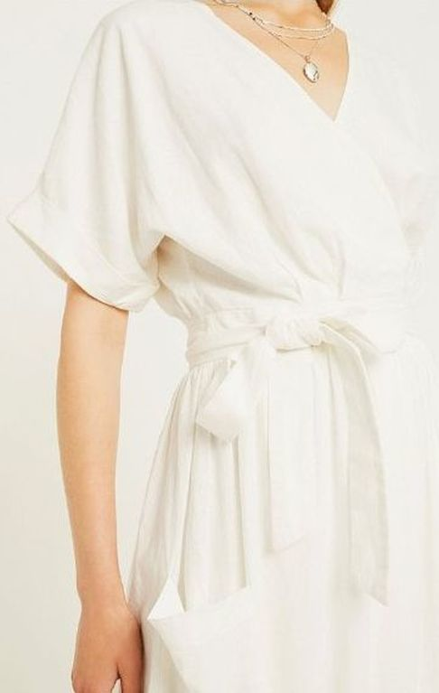 white linen wrap-around dress by Urban Outfitters