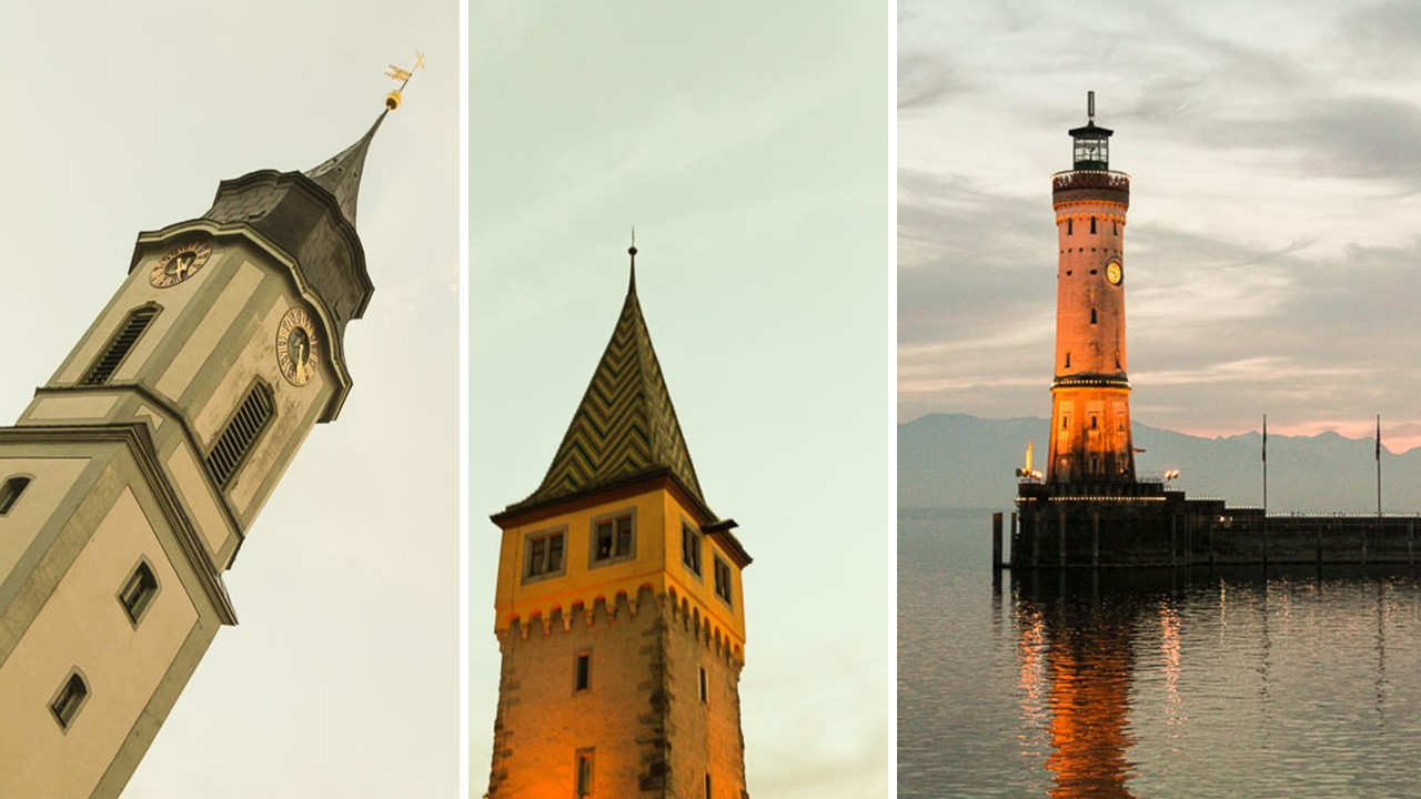 Lindau architecture including the Manturm Tower and the Lighthouse