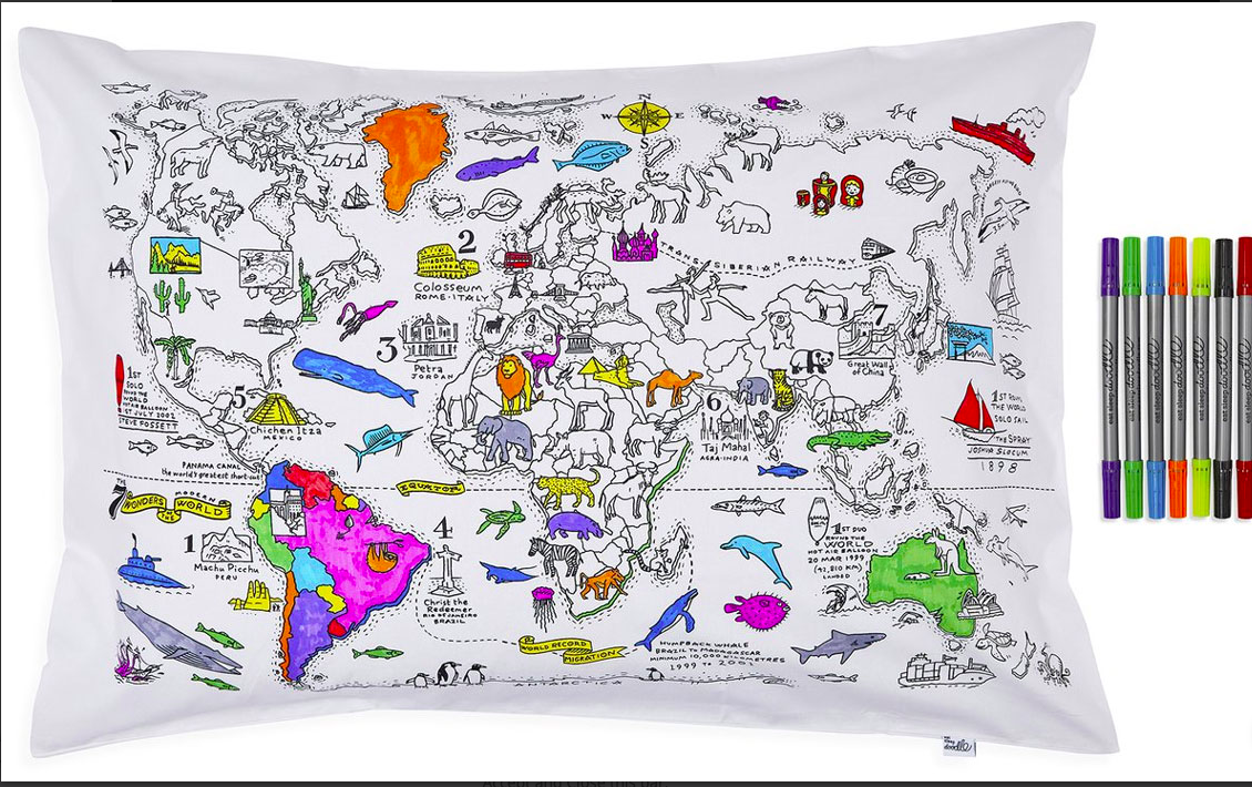 Map of the world colour in pillow