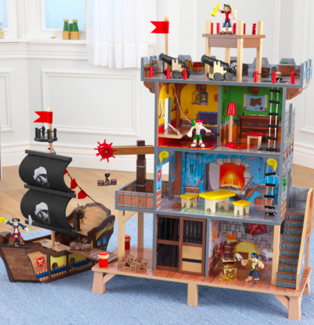 wooden pirate's cove play set