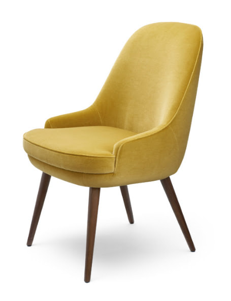yellow velvet chair by Walter Knoll